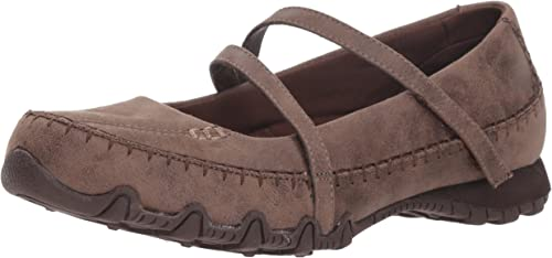 Skechers Wohommes Bikers-Libre Thinker-Whipstitched Mary Jane Flat, Chocolate, 9.5 M US