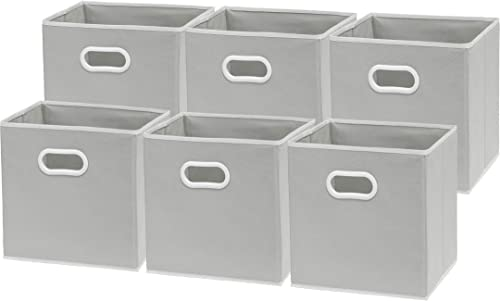 high quality 6 2021 Pack discount - SimpleHouseware Foldable Cube Storage Bin with Handle, Grey outlet online sale