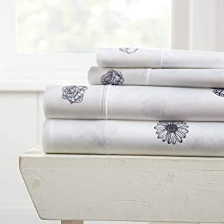 Simply Soft Premium Indigo Flowers Pattern 4 Piece Bed Sheet Set, Queen, Navy