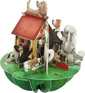 Santoro Pirouettes PS059 Dogs & Doghouse 3D Pop Up Card, Multi-Color
