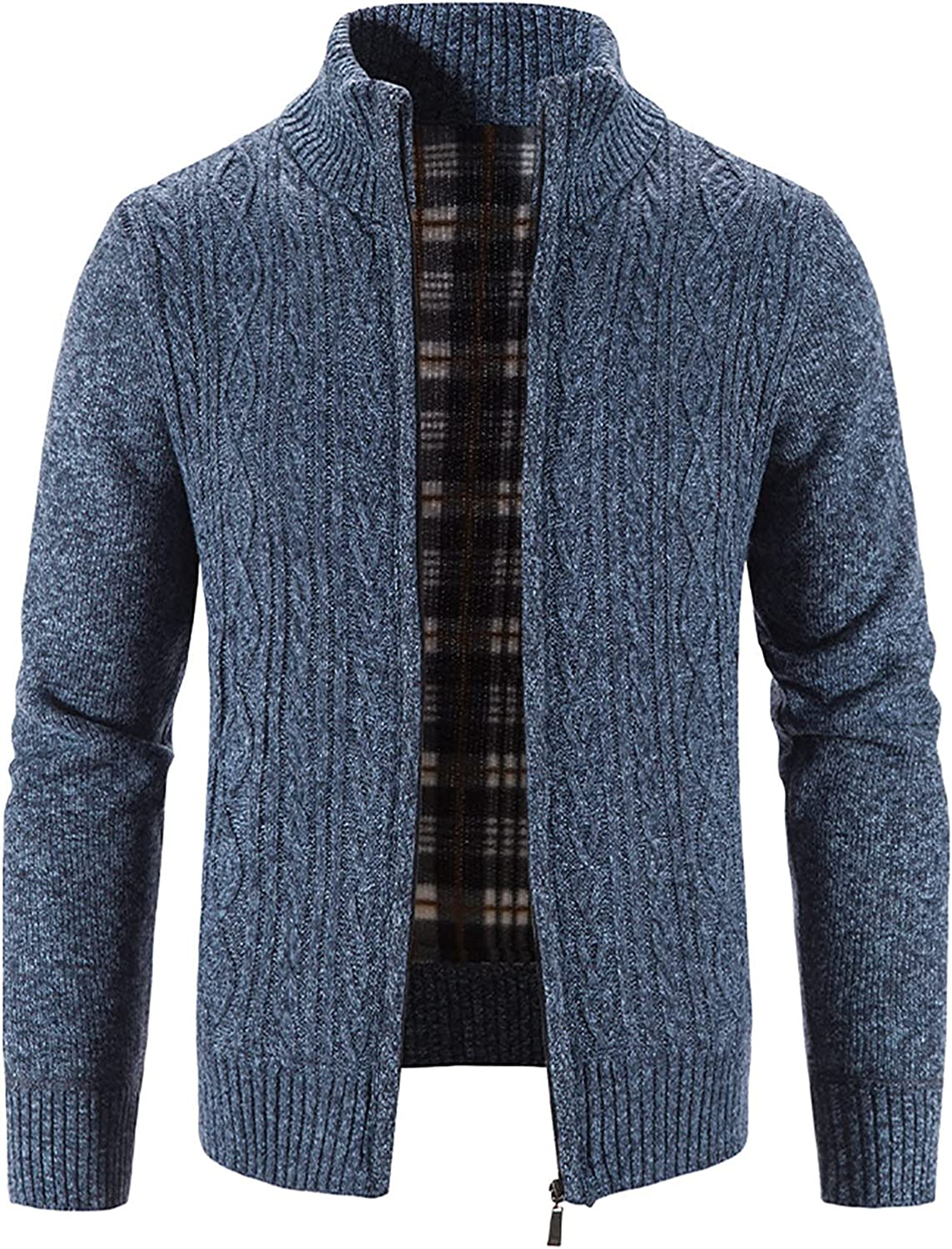 Men's Solid Color Cardigan Sweaters Full Zip Up Stand Collar Slim Fit Casual Knitted Sweater with 2 Front Pockets