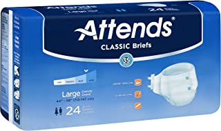 Attends Classic Briefs with Dry-Lock Technology for Adult Incontinence Care, Large, Unisex, 24 Count (Pack of 4)