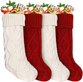 Ankis Large Christmas Stockings 4Pack -18 Inches Christmas Stockings Double-Sided Cable Knitted Xmas Stockings Burgundy Re...