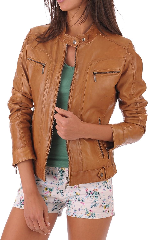 Star Leather Women's Biker Short Tan Leather Jacket