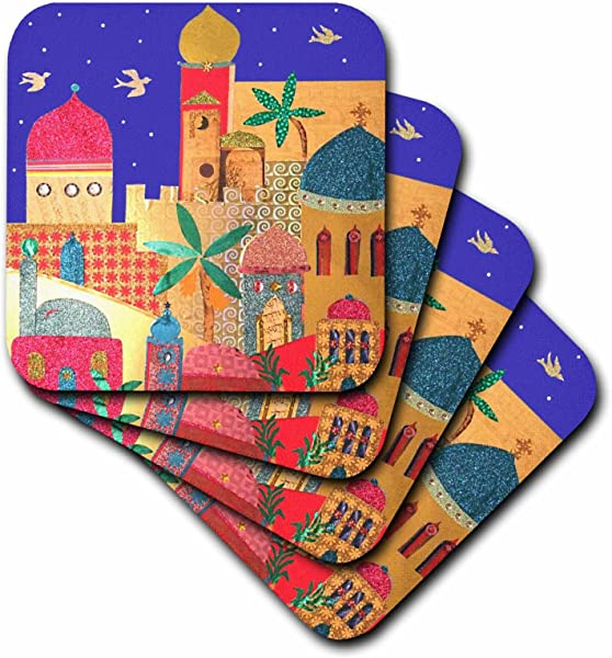 3dRose CST 113178 2 Jerusalem City Gold Domes Islamic Architecture Art Colorful Arty Buildings Jewish Israel Judaica Soft Coasters Set Of 8