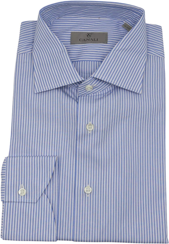 Canali Men's Modern Fit Pinstripe Dress Shirt Casual Button-Down