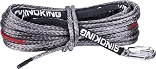 SINOKING 3/8 in ×85 ft (9.5mm×26m) Synthetic Winch Rope with Black Protecting Sheath, 18700lb/8500Kg, for Truck,Boat, UTV,Jeep,SUV.(Gray)