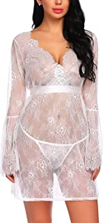 Avidlove Lingerie Cover Ups for Women Sexy Lace Kimono Robe Mesh Chemise Nightgown
