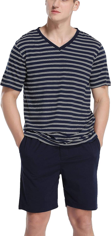 Vlazom Pijamas Hombre Verano Corto Conjuntos de Pijamas para Hombre Tops y Pantalones Cortos de Manga Corta