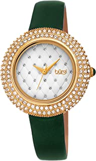 Burgi Women's BUR207 Swarovski Crystal Encrusted Quilted Dial Satin Leather Strap Watch - Packed in a Beautiful Gift Box, Perfect for Mothers Day