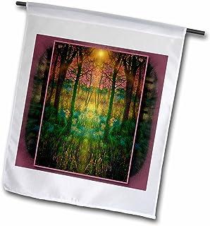 3dRose fl_22336_1 Secret Garden Fantasy Dream Mythology Myth Spiritual Harmony Nirvana Heavenly Garden Light Garden Flag, ...