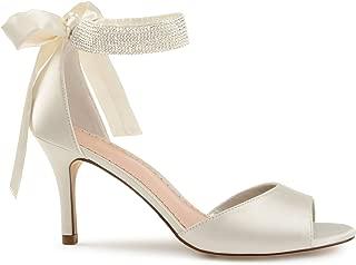 Belvie Satin Rhinestone Ankle Strap Open-Toe High Heels