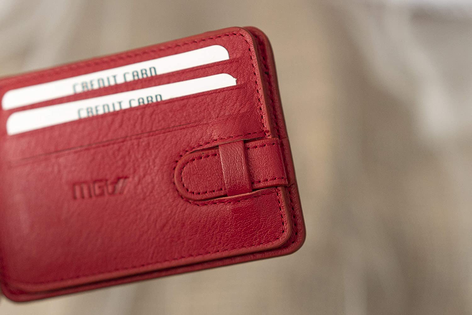 Front Pocket, Bifold- Slim Genuine Leather Wallet - RFID Blocking - Quick Card & ID Access (red)