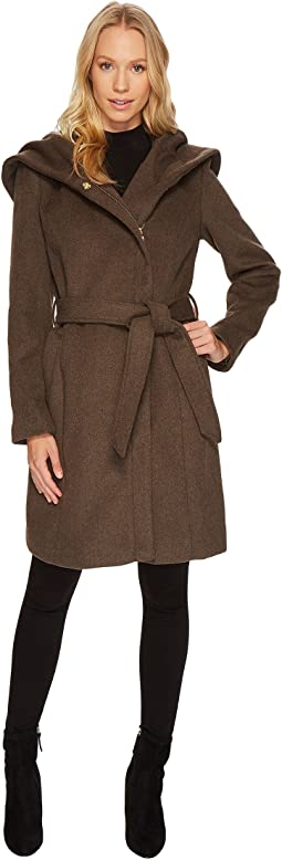 Hooded Asymmetrical Zip Front Coat