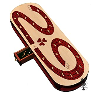 Palm Royal Handicrafts- 3 Track Cribbage . Cribbage Board inlain in Blood Wood / Maple . 29 Cribbage Board . 3 Track Continuous Cribbage Board