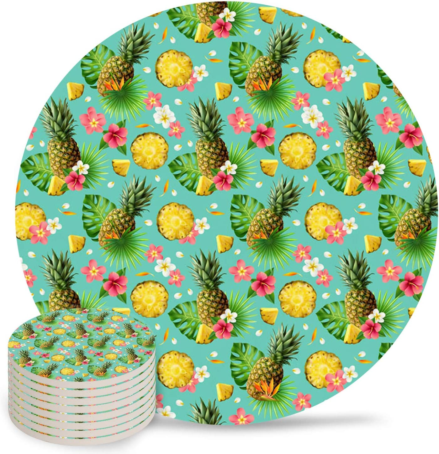 Tropical Plants 4 inch Ceramic Ranking TOP1 Coaster for Drink Wo National products