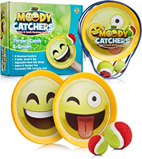 YoYa Toys Emoji Toss and Catch Ball Game 2 Disc Paddles, 2 Balls (One Big and One Small) - PVC Carry Bag Idea with Stunning Packaging - Safe, Durable and Family Friendly Game Set