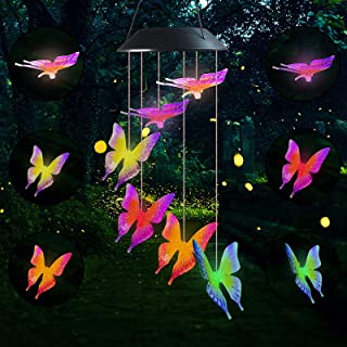 2 Pcs Outdoor Butterfly Wind Wind Chimes Wind Chimes Colors Changing Six Butterfly Waterproof LED Solar Light for Gardenin...