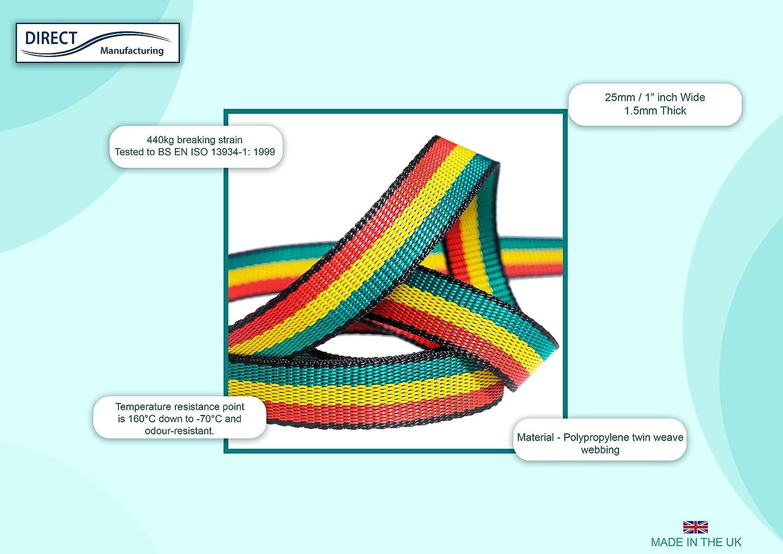 25/mm 25 m Rotolo di fettuccia in polipropilene arcobaleno cinghia da max 440/kg