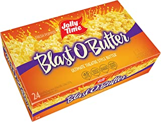 JOLLY TIME Blast O Butter | Ultimate Movie Theater Style Microwave Popcorn with Extra Buttery Flavor, Palm Oil, Salt and Non GMO Kernels ,3.2 Oz,Pack of 24