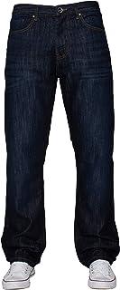 ENZO Mens Classic Straight Leg Regular Fit Indigo Wash & Mid Stone Wash Denim Jeans