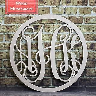 Back40Life - Circle Vine Monogram Unfinished Wood Letters Cutout DIY Decor Nursery