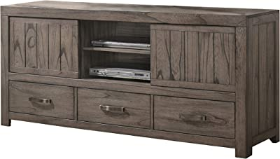 Benjara Plank Style Wooden TV Console with 3 Drawers and 2 Doors, Brown