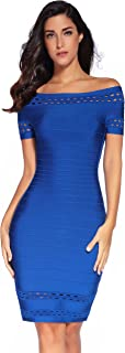 Meilun Womens Short Sleeve Hollow Out Bandage Party Dress