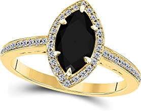 DreamJewels 1.20 Ct Created Black Sapphire Marquise Shape & CZ Simulated Diamond 14K Yellow Gold Finish Halo Style Engagement Ring for Women's Girlfriend & Birthday Gift