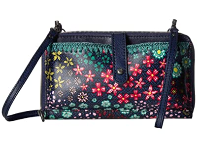 Sakroots Artist Circle Large Smartphone Crossbody (Navy Floral Spirit) Clutch Handbags