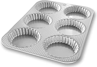 USA Pan Bakeware Aluminized Steel Mini Fluted Tart Pan, 6-Well