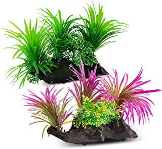 AroPaw Aquarium Decorations Lifelike Plastic Decor Fish Tank Plants 2 Pcs Green/Purple