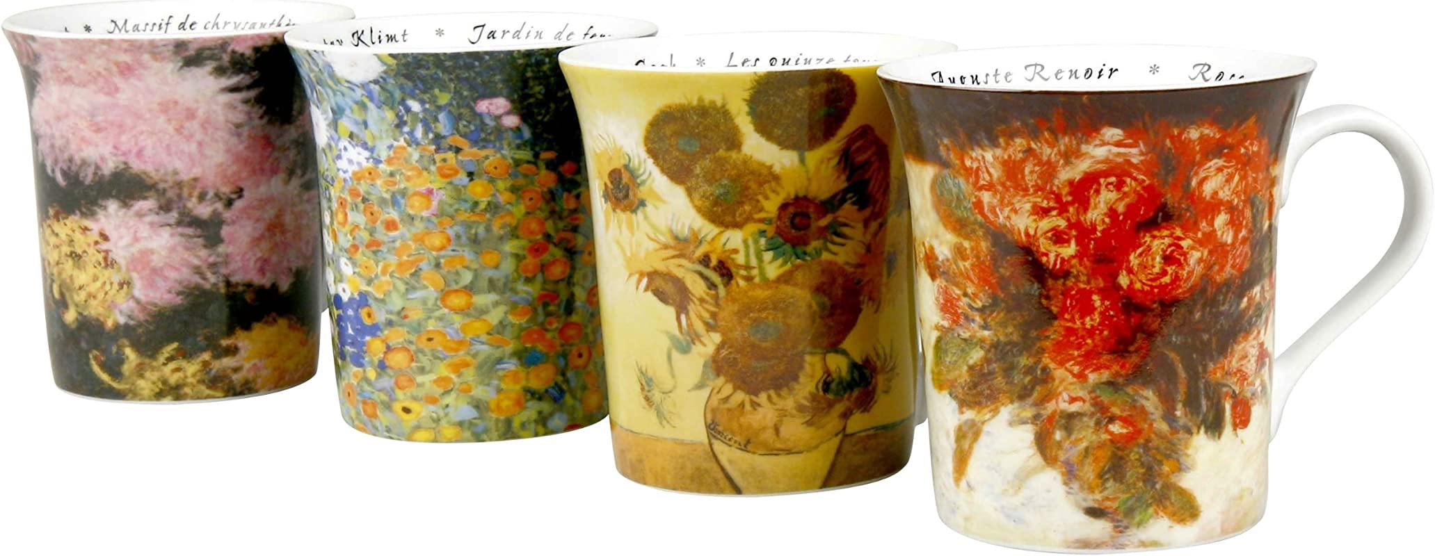 Konitz Les Fleurs Chez 12 Ounce Mugs Set Of 4 Assorted Designs