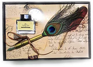 Worison Retro Style 0.5mm Fine Nib Feather Quill Dip Pen Pen Gift Box Set For Calligraphy (BRASS)