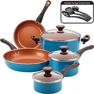 Farberware Glide Copper Ceramic Nonstick Cookware Set, Teal, 11-Piece (Renewed)
