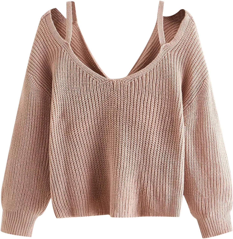 SweatyRocks Women's V Neck Twist Back Loose Fit Knit Pullover Sweater