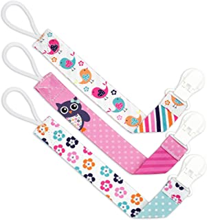 Liname️ Pacifier Clip for Girls - 3 Pack Gift Packaging - Premium Quality & Unique Design - Pacifier Clips Fit All Pacifiers & Soothers - Perfect Baby Gift