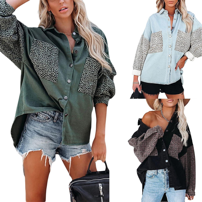 Lizxun Women's Loose Denim Jackets Button 5 ☆ very Las Vegas Mall popular Sleeve Down Leop Long