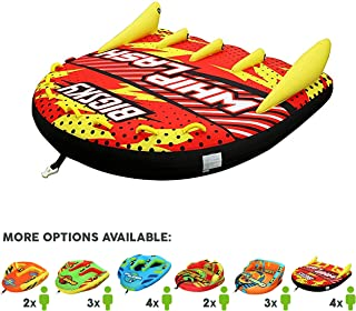Big Sky Whiplash Towable Tube for 1-4 People. Large, Boating Tube for Lake, Beach, River, Snow - Watersports Towables with Dual Boston Valve for Quick Inflation, Deflation - 4 Man Toys and Floats