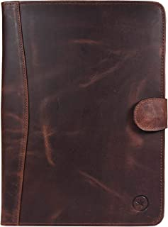 Leather Travel Portfolio | Professional Organizer Men & Women | Tablet Holder Leather Padfolio with Sleeves for documents and Ipad by Aaron Leather (Brown)