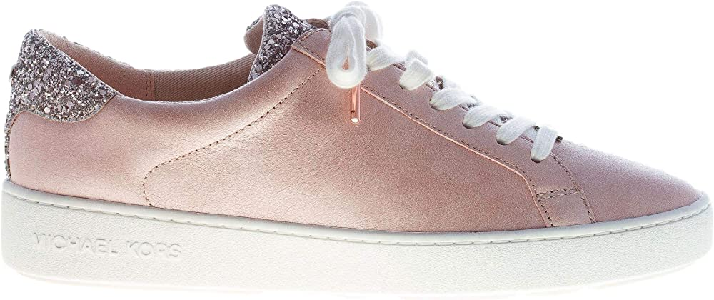 Michael kors,  sneakers irving, in pelle rosa con glitter 43S9IRFS4L187