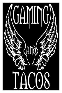 Spitzy's Gaming and Tacos 12 by 18 Inch Poster, Funny Video Game Wall Artwork for PC and Console Gamers, Home Wall Art Printed Bedroom Decoration