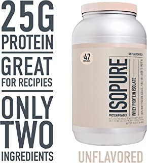 Isopure Zero Carb, Keto Friendly Protein Powder, 100% Whey Protein Isolate, Unflavored, 3 Pound