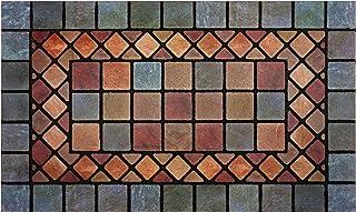 Nicoman Blue Edge Tile Mat Barrier Doormat Eco-Friendly Scrape and Absorbent Indoor/Outdoor Door Mat, Regular (75x44cm), B...