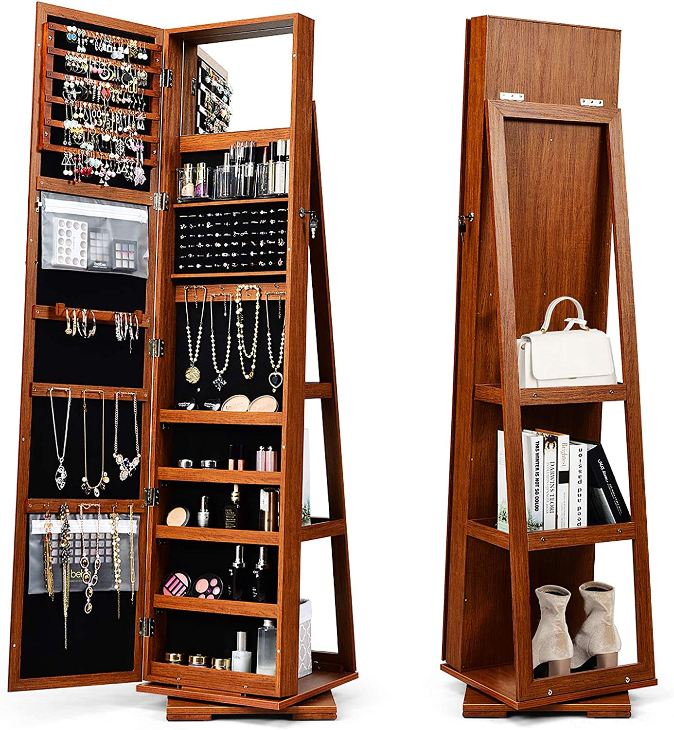 Hysache 360 Rotating Bargain sale Mirrored Jewelry Cabinet Many popular brands Jew Free Standing