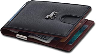 Estalon Metal Money Clip Wallets - Bifold Wallets RFID Protection Slim Design Front Pocket Leather Wallets