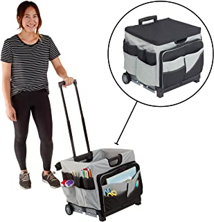 ECR4Kids MemoryStor Universal Rolling Cart and Organizer Bag Set, Moving Cart, Teacher Cart, Rolling Cart with Handle, Folds Flat to 3 inches, 30 Compartments & Pockets, Holds 65 lbs