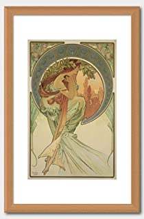 Alphonse Mucha - Poetry 1898. from The Series The Four Arts. Print Oak Frame White 60x91.5cm