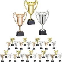 30x trofee, set, sport en feestjes, trofee beker, kunststof, HxBxD: 22,5x13,5x8,5 cm, meerkleurig