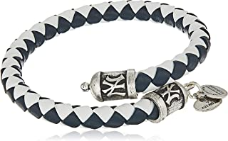 Alex and Ani Unisex New York Yankees Braided Leather Rafaelian Silver-Tone Wrap Bracelet